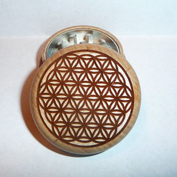 Wood burned CNC herb grinder solid oak / Magnetic / Flower of Life