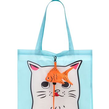 Cat Graphic Pop-Out Tote Bag