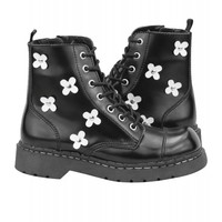 Tuk Shoes Women's Leather Flower Combat Boots