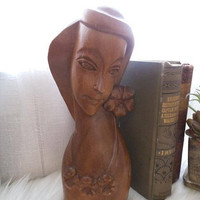 Vintage Carved Wooden Lady ~ Hawaiian Monkey Pod ~ Exotic Hand Carved Bust ~ Tall Lady Statue