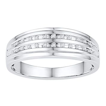 10kt White Gold Mens Round Channel-set Diamond Double Row Wedding Band Ring 1/10 Cttw