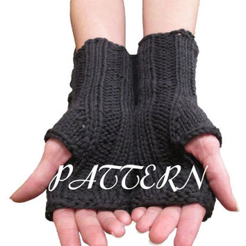 Fingerless Gloves Knitting Pattern - Ribbed Wrist Warmers - Knitting Pattern - PDF Download Pattern - Wool of the Andes