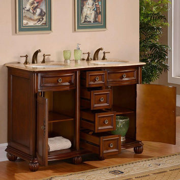 Silkroad Exclusive Bathroom Vanity LTR-0180-T-UWC-52 Antique 52""