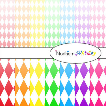 Digital Scrapbooking Paper Background Set – bright rainbow ombre package in large and small  harlequin diamond patterns INSTANT DOWNLOAD