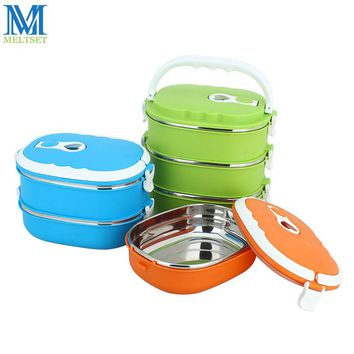 Freely Combined Stainless Steel Thermal Lunch Box Double Insulated School Bento Box Portable Food Container For Kids Picnic
