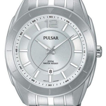 Pulsar Active Sport Mens Watch - Stainless Case and Bracelet - 100 Meter WR