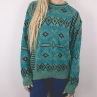 Vintage Teal Tribal Sweater