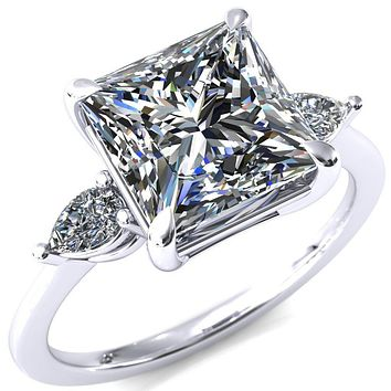 Robyn Princess/Square Moissanite 4 Claw Prong 2 Rail Basket Pear Sidestones Inverted Cathedral Engagement Ring
