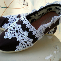Custom Wedding TOMS..... The Fleur De Lis design...Chocolate brown