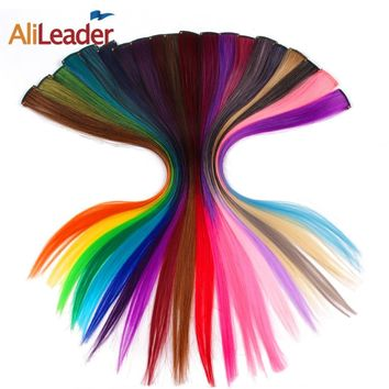 Single Clip Hair One Piece 57 Colors 50CM Synthetic Long Straight Ombre Grey Red Rainbow Hair Extensions