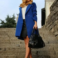 Blue Wool Lapel Coat | SPREDFASHION