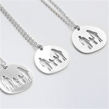 family daughter son mother father boy girl Stainless Steel women necklace Vintage handmade fashion jewelry  N-106