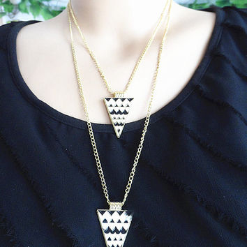 Two layers Triangle gold  necklace  ripple triangular pendants sweater necklace. Birthday  friends gifts. Autumn Edition fashion trends
