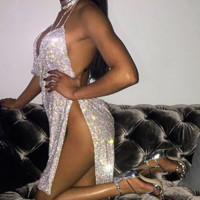 Fashion sexy halter open side backless dress