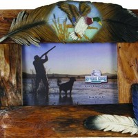 River's Edge Genuine Firwood Horizontal 4 x 6 Picture Frame with Beautiful Hand Painted Poly Resin Duck Feather Accent