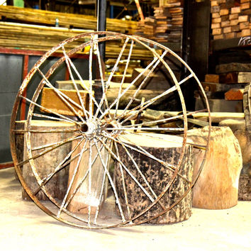 "Antique 42"" Iron Wagon Wheel IN STORE ONLY"