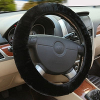 Black Winter Essential Warm Furry Fluffy Thick Faux Fur Car Steering Wheel Cover