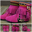 SZ 5 Winnie May May Moccasin Fringe Magenta Boots