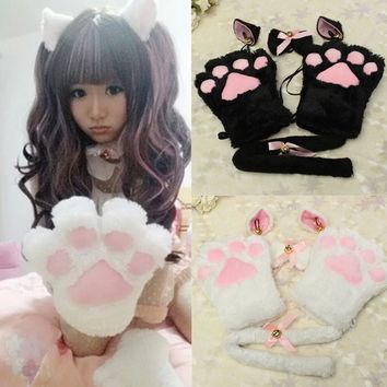 Playful Anime Cat Cosplay Maid Sexy Costumes Woman Cute Catwoman Role Play Accessories Ear Paw Tail Tie Gloves For Game Party
