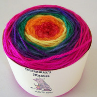Alice 8ply. Bright Rainbow coloured wool.