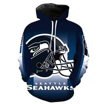 Seattle Seahawks Hoodie Fashion 3D hooded pullover streetwear NFL American football sweatshirt