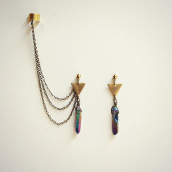 triangle titanium quartz ear cuff earrings, chains ear cuff, quartz ear cuff, arrow head earrings, tribal earrings