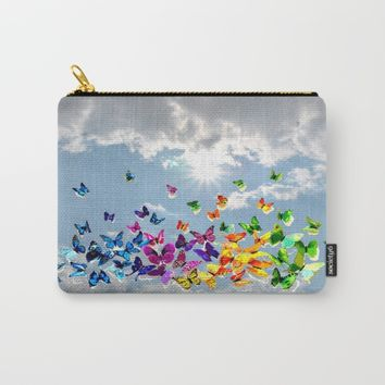 Butterflies in blue sky Carry-All Pouch by Azima