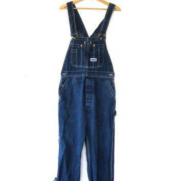 Vintage Jean Bib Overalls. Dark Wash Carpenter Pants. BIG SMITH
