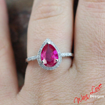 Pink Sapphire & Diamond Pear halo ring white, yellow, rose gold-Custom made your size-Wedding-Engagement-Anniversary-Layaway 14k-18k