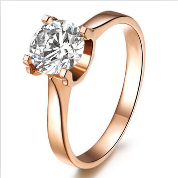 Never Fade Rose Gold 18K Solid Moissanite Real Jewelry 1CT Synthetic Diamond Solitaire Engagement Jewelry Ring Colorful Gold
