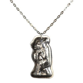 vintage butter mold bear necklace