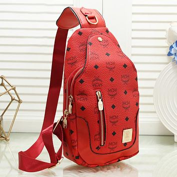 MCM Fashion New More Letter Shopping Leisure Shoulder Bag Women Red