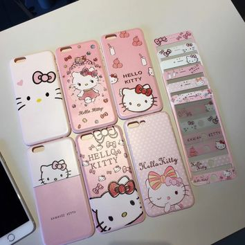 10pcs Hello kitty Film + case For iPhone 7 / 8 plus / 7Plus /6 6splus KT cat Tempered Glass soft cover cartoon Screen Protector