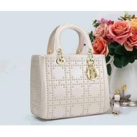 Dior Women Shopping Leather Metal Crossbody Handbag Shoulder Bag White I-LLBPFSH