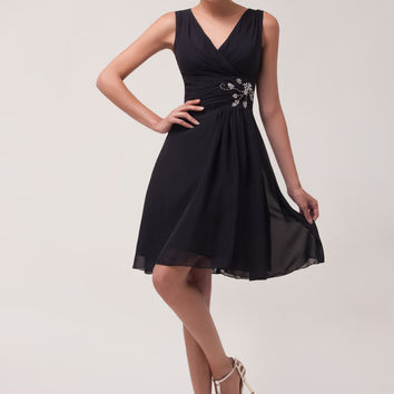 Black V-Neck Beaded Sleeveless Homecoming Dress