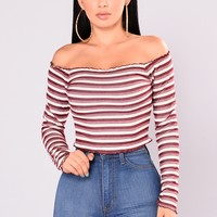 Oceana Stripe Top - Burgundy