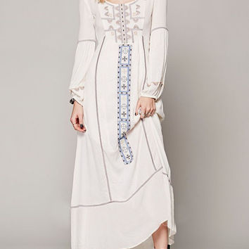 Ivory Embroidery Blouson Sleeve Button Keyhole Back Maxi Dress