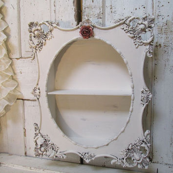 Ornate framed shelf shabby cottage chic white cream shadowbox display romantic vintage wall hanging distressed home decor anita spero design