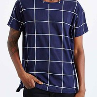 BDG Windowpane Box-Fit Tee- Navy