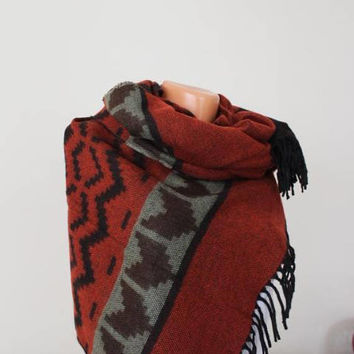 EXPRESS SHIPPING ! Blanket Scarf Aztec Scarf Shawl Boho Scarf Bohemian Scarf Winter Fashion Accessories Thick Scarf Winter Scarf Gift Ideas