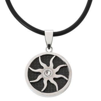 ESBGQ9 Carbon Cutout Sun Stainless Steel Cord Necklace