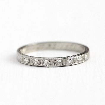 1920s Diamond Ring - Vintage Art Deco 18k White Gold Wedding Band - Size 6 1/2 Antique Dated 1928 Flower Eternity Fine Bridal Jewelry