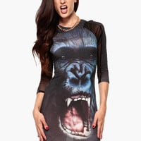 Black Gorilla Print with Mesh Accent Bodycon Mini Dress