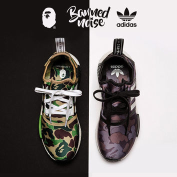 Adidas NMD_R1 BAPE Camouflage Fashion Trending Running Sports Shoes