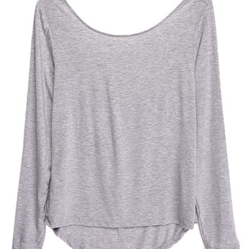 Gray Bow Long Sleeve T-shirt