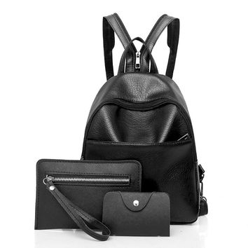 Fashion Soft Leather Backpack, Clutch and Messenger Bag - 3 Piece Set