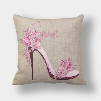 High Heel Shoes Innovative Cotton Linen Sofa Cushion [6451669638]