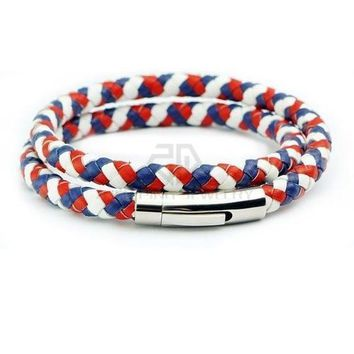 Men and Women Braided Leather Bracelet Necklace French France Flag Color with Durable Stainless Steel Magnetic Clasp