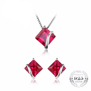 .925 Solid Silver Square Ruby Earrings Pendant Necklace Set