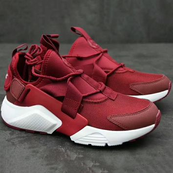 NIKE AIR HUARACHE RUN ULTRA BR  Fashion Running Sport Sneakers Shoes Wine red G-XYXY-FTQ